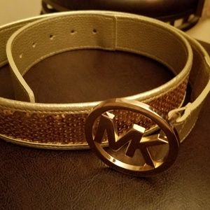 New MK gold leather and sequin belt.